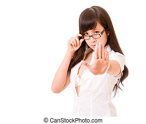Asian woman showing stop hand gesture - Chinese woman with...