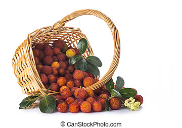 Basket with arbutus unedo fruits over white - Basket with...
