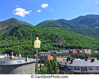 The Pyrenees mountains surrounding Andorra La Vella, capital...