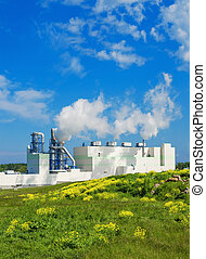 Summer landscape with the building of the modern...