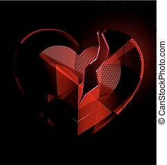 broken heart-crystal with black veil - a dark background and...