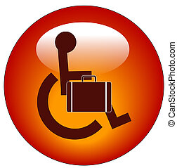 web button for handicap person in wheelchair carrying briefcase