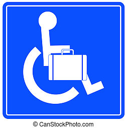handicap or wheelchair person sign carrying briefcase