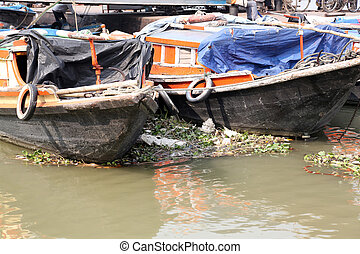 River boats waiting for the passengers at the dockt in...