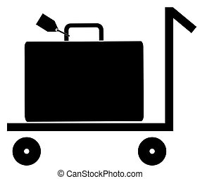 silhouette of rolling luggage trolly or cart with luggage on...