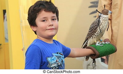Child with bird - Little boy posing to camera with hawk