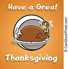 Funny Turkey Thanksgiving Day Greeting Vector Graphic...