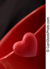 Red heart on red background - Red heart for love and...