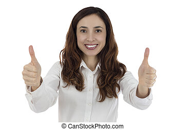 Business woman giving thumbs up - Friendly business woman...