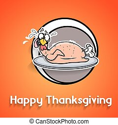 Funny Turkey in Plate Vector - Funny Turkey Chicken...