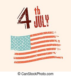 4 th July Vector Illustration with Grunge American Flag