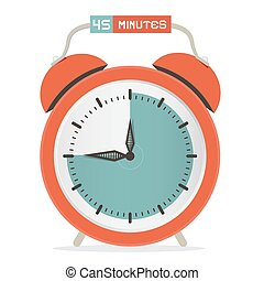Forty Five Minutes Stop Watch - Alarm Clock Vector Illustration