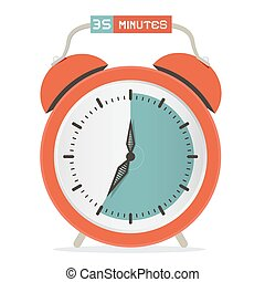 Thirty Five Minutes Stop Watch - Alarm Clock Vector Illustration