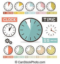 Clock Vector Set in Flat Design Style