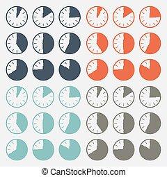 Vector Flat Design Clock Set