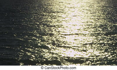 Sun glitters on the waves in slow motion. Shoot in the...