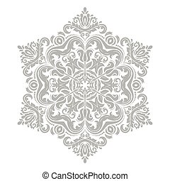 Damask Vector Pattern. Orient Grey Ornament