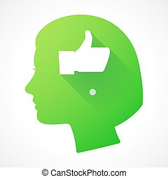 Female head silhouette icon with a thumb up hand