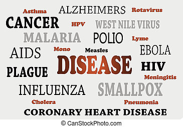 List Of Human Diseases - A list of human diseases in colored...