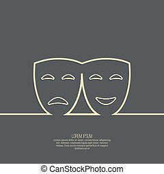 Comic and tragic theatrical mask. Drama, tragedy, humor,...