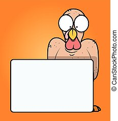 Funny Turkey Bird with Blank Banner - Cartoon Funny Scared...