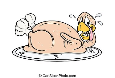 Funny Face Turkey Chicken in Plate