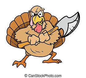 Angry Turkey Bird with Dagger - Cartoon Aggressive Turkey...