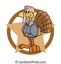 Funny Turkey with Star Graphic - Cartoon Funny Happy Turkey...