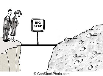 Big Step - Cartoon of businesspeople with new situation, it...