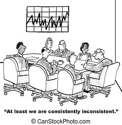 Consistently inconsistent - Cartoon of business team looking...
