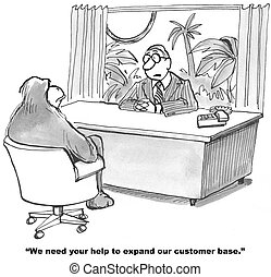 Expand Customer Base - Cartoon of businessman talking with...