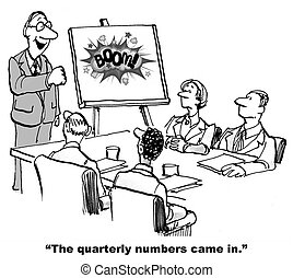 Successful Quarterly Results - Cartoon of business leader...