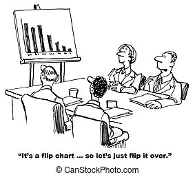 Flip Chart - Cartoon of businesspeople in meeting and chart...