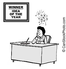 Idea of the Year - Cartoon of businesswoman at her desk with...