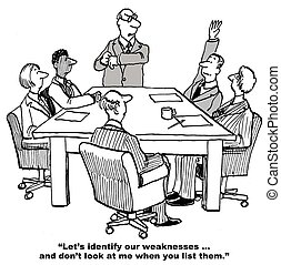 SWOT - Cartoon of business leader conducting SWOT, but do...