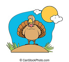 Funny Turkey Bird in Garden - Cartoon Funny Turkey Bird in...