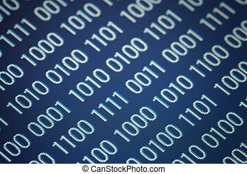 close up of binary code on a blue background