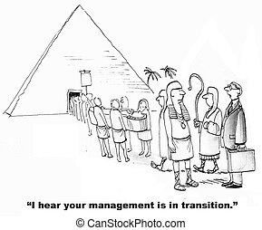 Management in Transition - Cartoon of business leader...