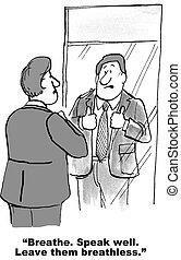 Keynote Speaker - Cartoon of businessman preparing for...