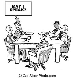 May i Speak - Cartoon of introverted businessman raising...