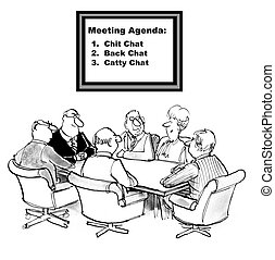 Chit Chat Agenda - Cartoon of businesspeople with agenda to:...