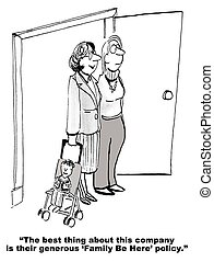 Daycare Policy at Work - Cartoon of two businesswoman, one...