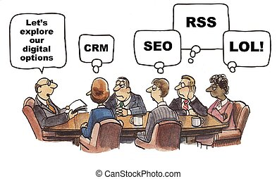 Social Media Options - Cartoon of businessman saying let's...