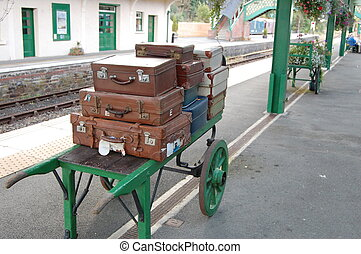 Okehampton Railway Station - Luggage on platform at...