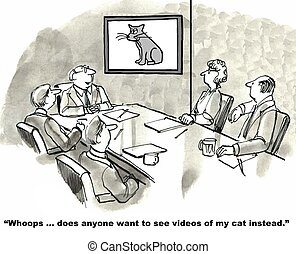 Video Presentation - Cartoon of businessman trying to give...