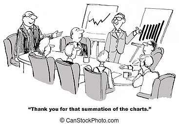 Chart Summary - Cartoon of businessman in front of two...