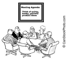 New Product Ideas - Cartoon of business meeting with goal to...