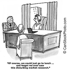 Disturbing Market Research Results - Cartoon of three...