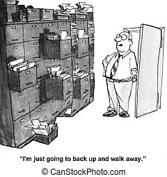 Messy Storage Room - Cartoon of businessman needing to...