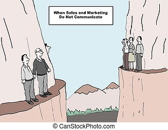 Sales and Marketing - Cartoon of two departments on opposing...